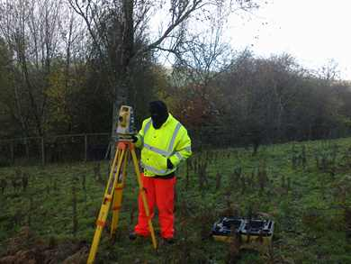 Land surveying in autumn